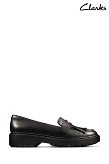 Clarks Black Leather Witcombe Dawn Shoes