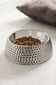 Silver Ceramic Dog Bowl