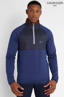 Calvin Klein Golf Mens Blue Gravity Hybrid 1/4 Zip Top