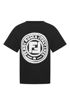 Boys Black Cotton Logo T-Shirt