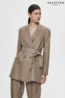 Selected Femme Camel Relaxed Double Breasted Blazer