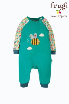 Frugi Green Floral Bee Organic Cotton Cosy Romper