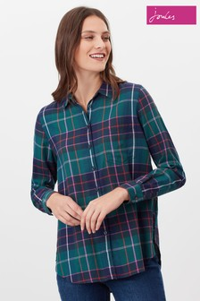 Joules Blue Lorena Longline Brushed Woven Shirt