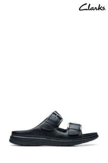 Clarks Black Leather Nature Vibe Sandals
