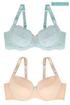 Dorina Curve Blue/Pink Abigail Two Pack Non Padded Bra