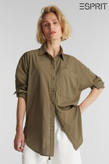 Esprit Green Woven Long Sleeved Shirt
