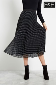 F&F Multi Black Mono Spot Pleated Skirt