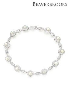 Beaverbrooks Silver Freshwater Pearl And Cubic Zirconia Bracelet
