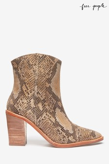 Free People Snake Skin Western Boots