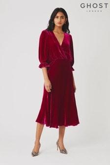Ghost London Gracie Fuchsia Silk Velvet Dress