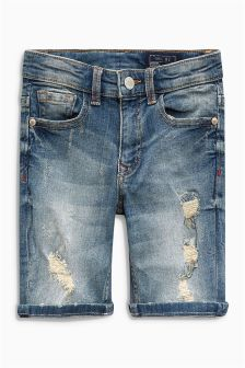 Denim Distressed Five Pocket Shorts (3-16yrs)