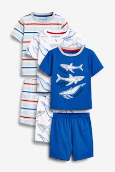 3 Pack Shark Short Pyjamas (9mths-8yrs)