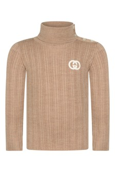 Baby Boys Camel Wool Turtle Neck Jumper