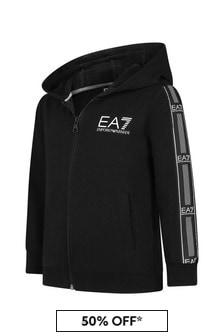 EA7 Emporio Armani Boys Black Cotton Zip Up Top