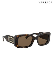 Versace Dark Tortoiseshell Rectangle Sunglasses
