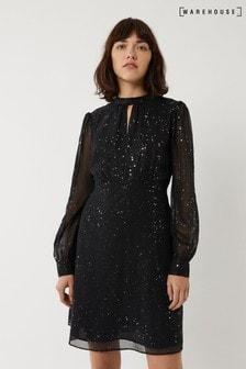 Warehouse Black Glitter Mesh Mini Dress