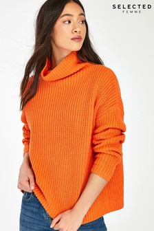 Selected Femme Orange Alberte Roll Neck Jumper