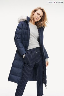 Tommy Hilfiger Blue Tyra Maxi Longline Down Coat