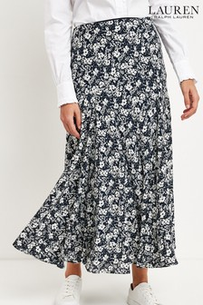 Lauren Ralph Lauren Navy Floral Varizi Midi Skirt