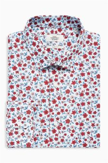 Ditsy Print Slim Fit Shirt