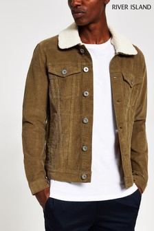River Island Tan Biscuit Cord Borg Collar Jacket