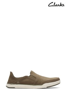 Clarks Olive Canvas Step Isle Row Shoes