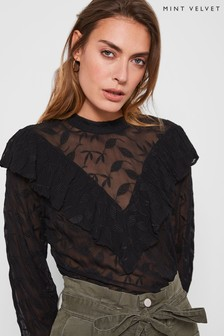 Mint Velvet High Neck Embroidered Top