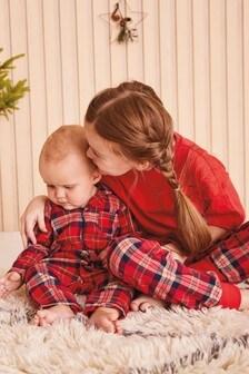Christmas Tartan Pyjama Sleepsuit (0mths-3yrs)