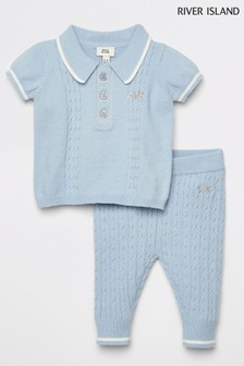 River Island Blue Knitted Polo Set