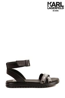 Karl Lagerfeld Black Logo Strap Sandals
