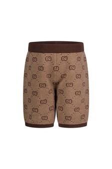 GUCCI Kids Baby Boys Beige GG Wool Shorts