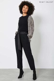 Mint Velvet Black Belted Twill Trousers