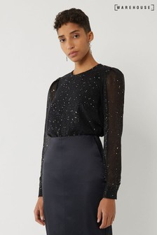 Warehouse Black Glitter Top