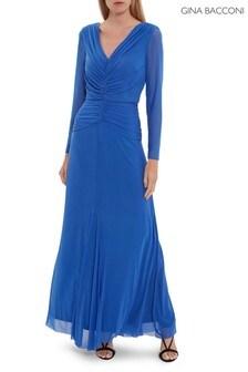 Gina Bacconi Blue Kelly Mesh Maxi Dress