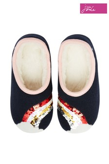 Joules Blue Junior Felt Mule Slippers  With Appliqué