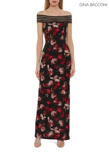 Gina Bacconi Black Pavi Floral Scuba Maxi Dress