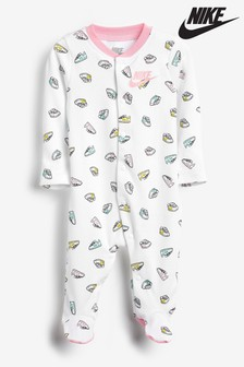Nike Baby Strampler mit Logo-Print, Weiß
