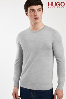 HUGO Grey San Lorenzo Crew Neck Jumper