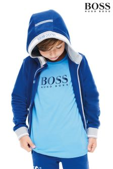 BOSS Navy Logo Zip Through Hoody