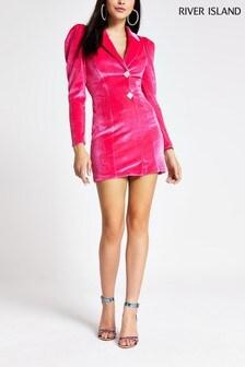 River Island Pink Arya Velvet Dress