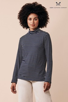 Crew Clothing Company Blue Roll Neck Top