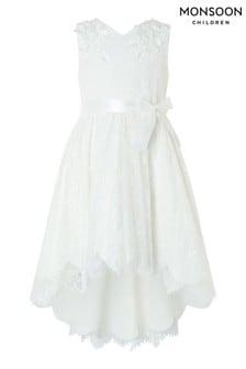 Vestido con bajo asimétrico de encaje en crema Rebecca Lilly de Monsoon