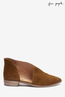 Free People Tan Leather Royale Flat Shoes