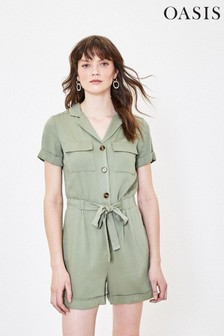 Oasis Green Button Through Playsuit