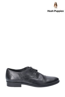 Hush Puppies Black Ollie Cap Toe Lace-Up Shoes