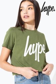 Hype. Khaki/White Script Kids Crop T-Shirt