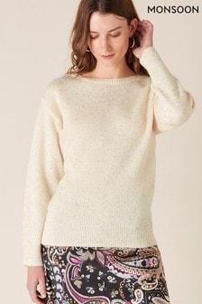 Monsoon Cream Foil Spot Knit Jumper