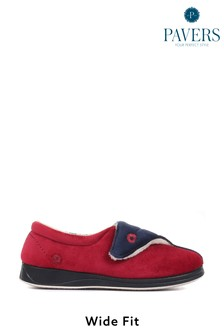 Pavers Red Ladies Touch Fastening Full Slippers With Permalose Sole