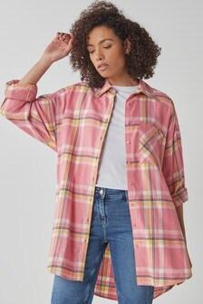 Oversized Longline Check Shirt