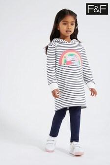 F&F Navy Peppa™ Stripe Sweat Dress Set